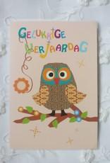 IsArt Wenskaart IsArt 12 gelukkige verjaardag uil