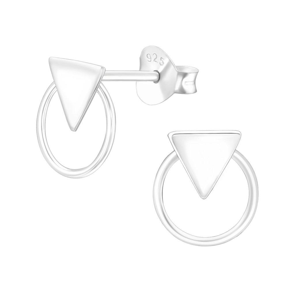 Precious jewels precious jewels oorbellen cirkel en driehoek zilver