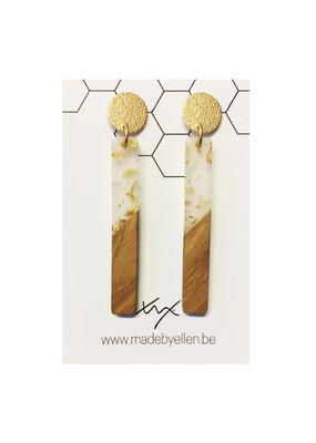 made by ellen Made by ellen oorbellen hars&hout goud staafje