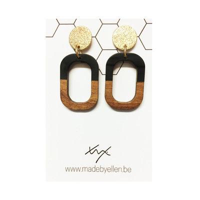 Made by ellen Made by ellen oorbellen hars hout zwart goud