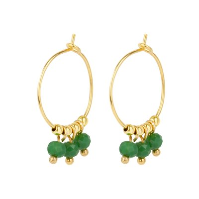 &Anne &Anne: Oorbellen 3 green beads