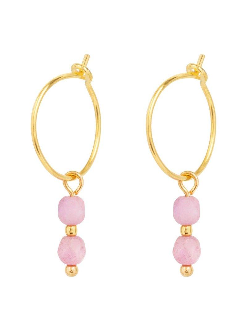 &Anne &Anne: Oorbellen 2 pink beads