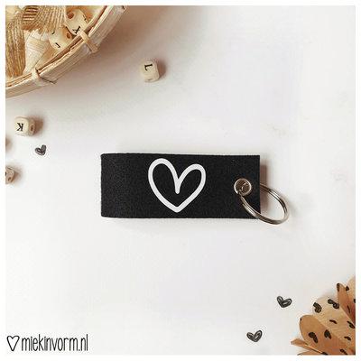 Miek in vorm Miek in vorm sleutelhanger zwart hartje
