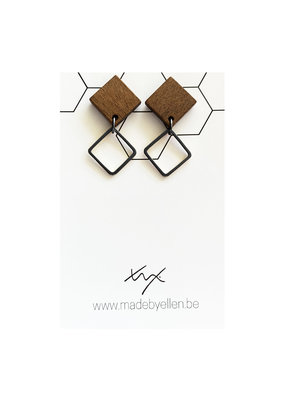made by ellen Made by ellen 236 oorbellen hout vierkant zwart