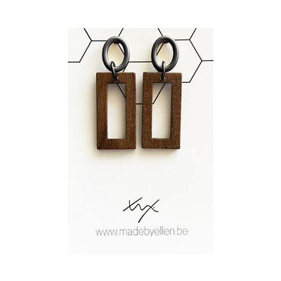 Made by ellen Made by ellen oorbellen hout rechthoek steker ovaal zwart