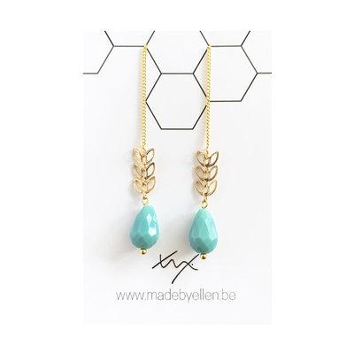 Made by ellen Made by ellen oorbellen doortrekker turquoise