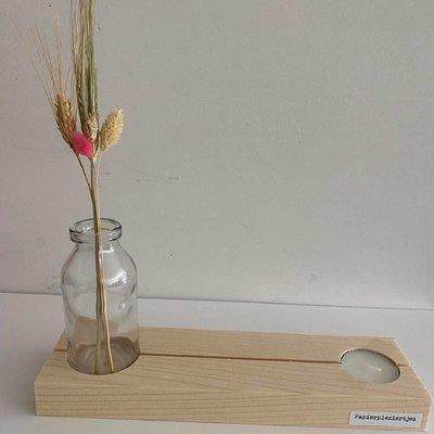 Papierpleziertjes Papierpleziertjes Plankpleziertje bloem kaarsje + vaasje