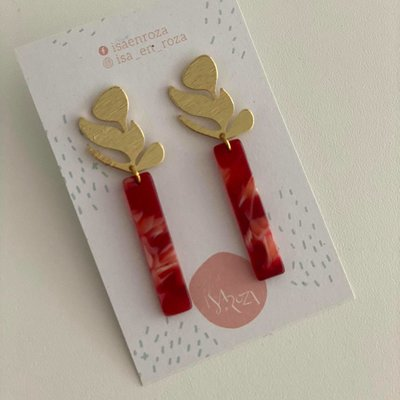Isa en Roza Isa en Roza  oorbellen goud en rood/roze tinten