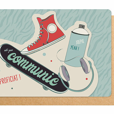 Enfant Terrible Dubbele wenskaart Enfant terrible: proficiat met jouw communie skater