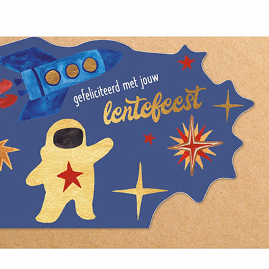 Enfant Terrible Dubbele wenskaart Enfant terrible: gefeliciteerd met jouw lentefeest astronaut