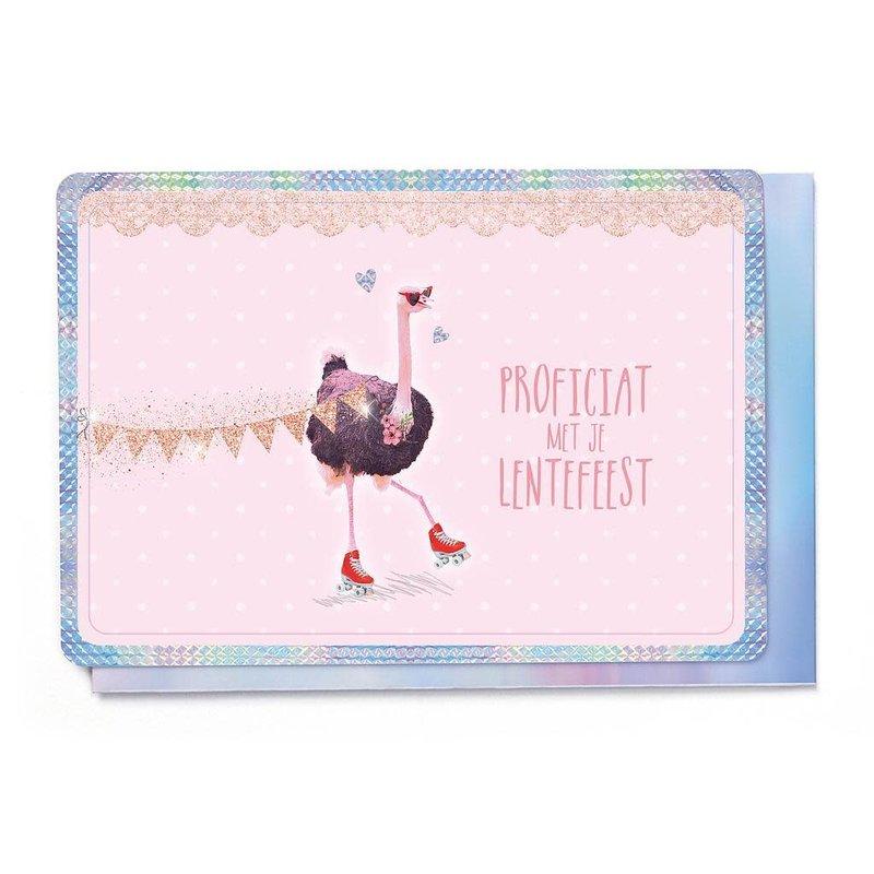 Enfant Terrible Dubbele wenskaart Enfant terrible: proficiat met je lentefeest struisvogel