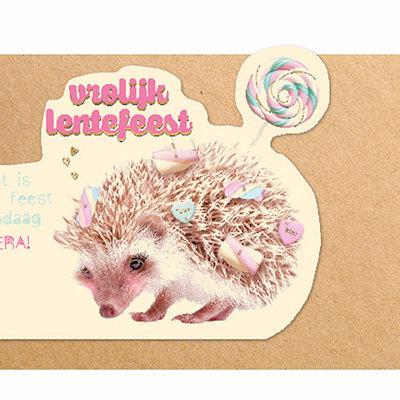 Enfant Terrible Dubbele wenskaart Enfant terrible: Vrolijk lentefeest het is jouw feest vandaag Hoera! Egel