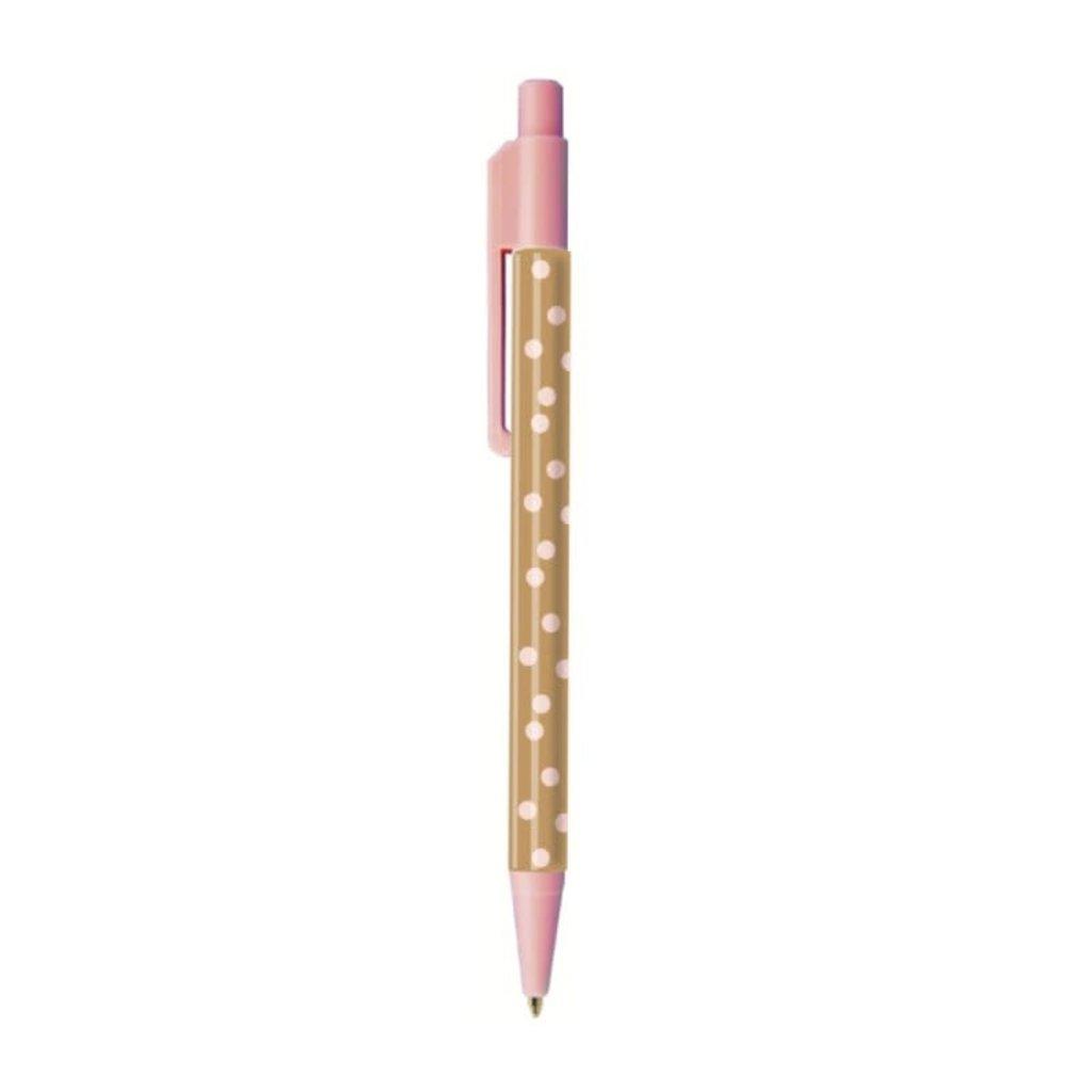 Stationery & gift Stationery & gift : pen bruin met roze stippen