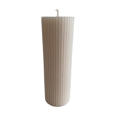 Voenk Voenk: kaars ribbel cilinder ecru 15 cm x 5 cm
