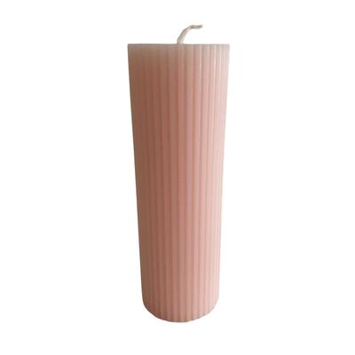 Voenk Voenk: kaars ribbel cilinder lichtroze 15 cm x 5 cm