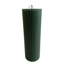 Voenk Voenk: kaars ribbel cilinder donkergroen 15 cm x 5 cm