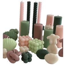 Voenk Voenk: kaars ribbel cilinder lichtroze 12 cm x 5 cm