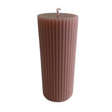 Voenk Voenk: kaars ribbel cilinder vuilroze 12 cm x 5 cm