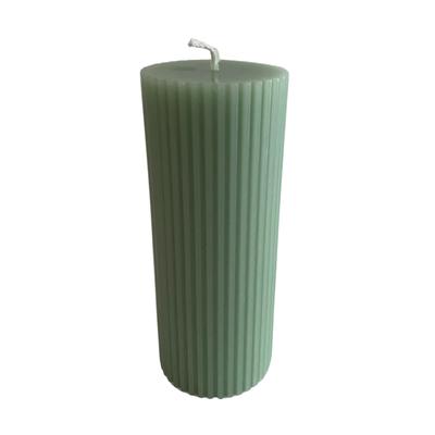 Voenk Voenk: kaars ribbel cilinder groen 12 cm x 5 cm