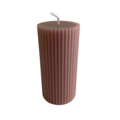 Voenk Voenk: kaars ribbel cilinder vuilroze 10 cm x 5 cm