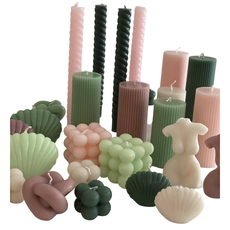 Voenk Voenk: kaars ribbel cilinder groen 10 cm x 5 cm