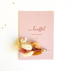 Stukske geluk Stukske geluk kaart bloemen 'dikke knuffel ik denk aan jou'