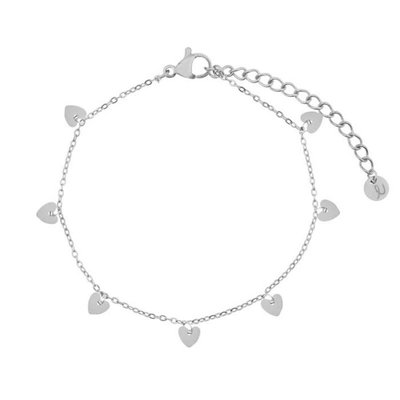 Essentialistics Essentialistics armbandje hartjes - zilver