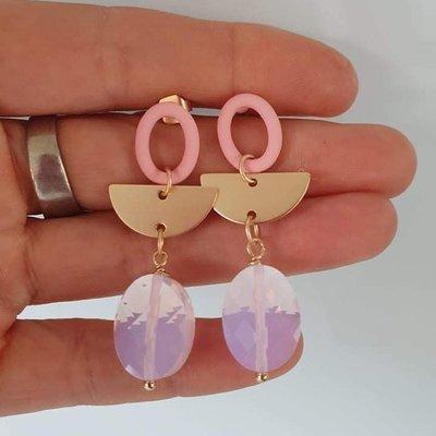 le marché sucré Le marché sucré oorbellen roze, goud en paars