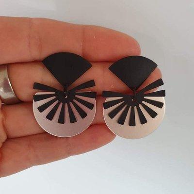 le marché sucré Le marché sucré oorbellen zwart met zilver