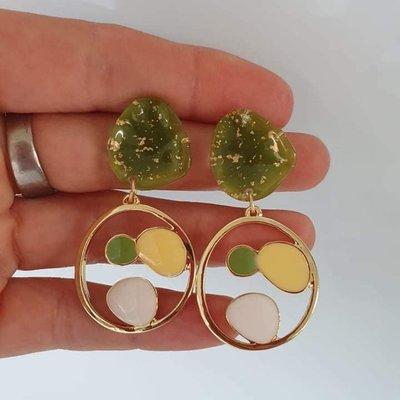 le marché sucré Le marché sucré oorbellen Groen, goud, geel en wit