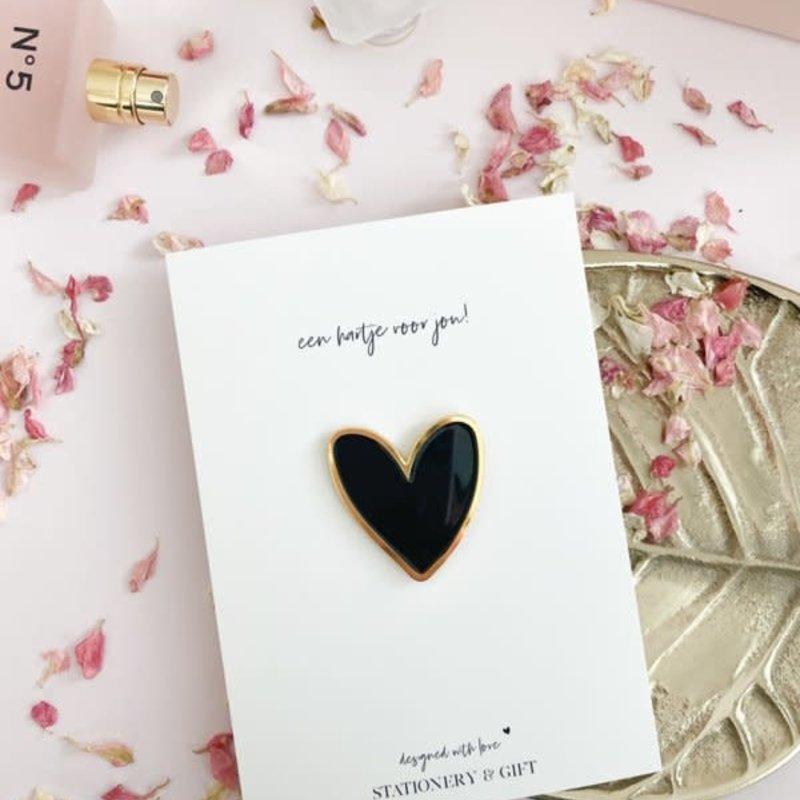 Stationery & gift Stationery & gift Pin | Een hartje voor jou! zwart