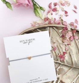 Stationery & gift Stationery & gift armbandje grijs met een gouden hart
