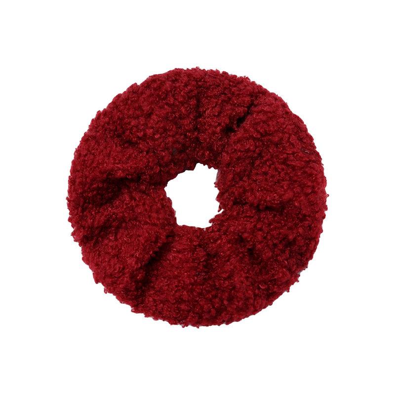 Yehwang Scrunchie soft teddy rood/bordeaux