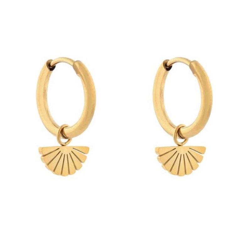 Essentialistics Essentialistics oorbellen minimalistic waaier goud
