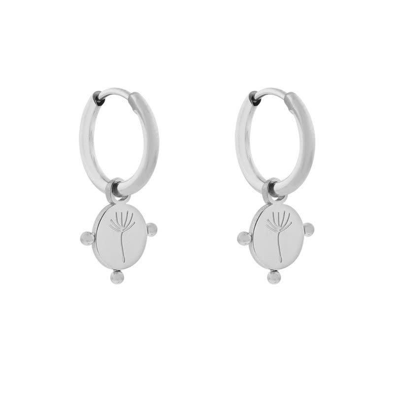 Essentialistics Essentialistics oorbellen minimalistic paardebloem zilver