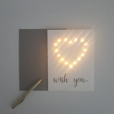 Lizaas Lizaas: Lichtjeskaart hartje Wish you wit