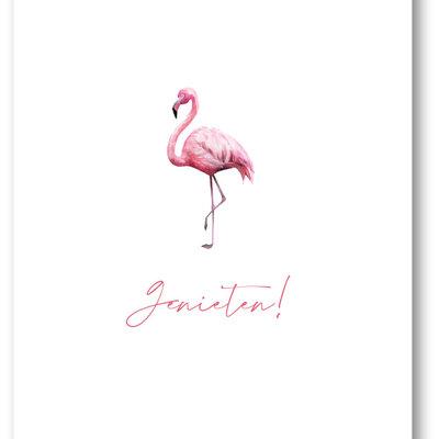 Makerij Meskens Makerij Meskens Kaartje A6: Genieten! flamingo