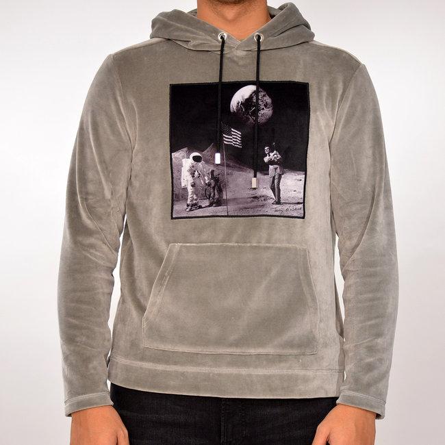 Limitato Limitato velvet  hoodie  grijs met print