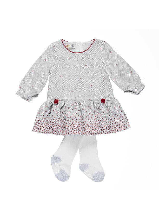Babybol grijs baby jurkje + panty