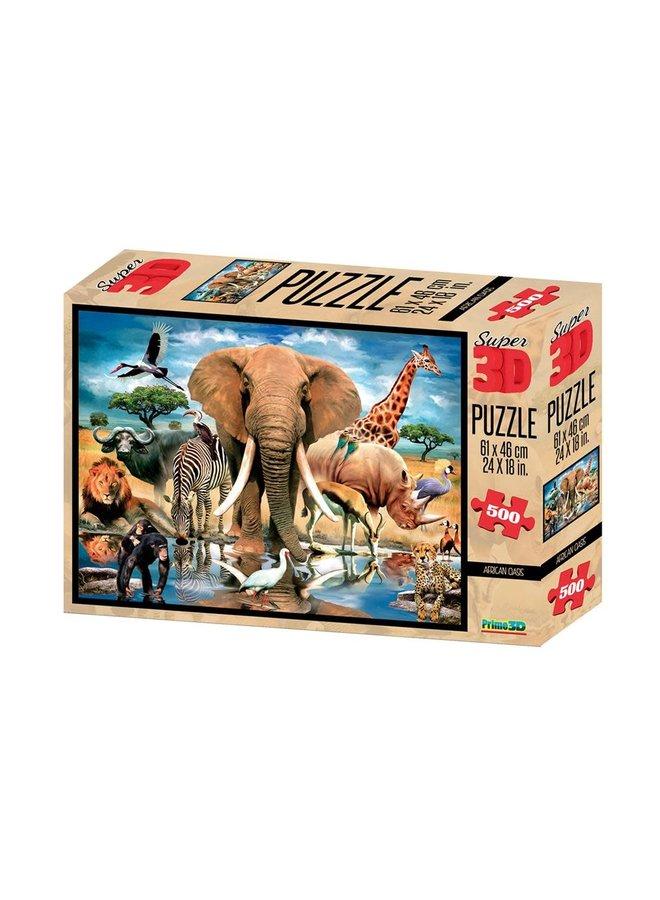 Prime 3D Puzzel 61x46cm 500st. Afrikaanse Oase 6+