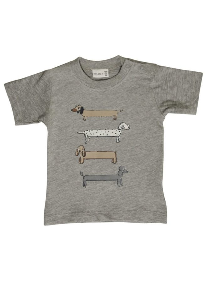 Hust & Claire Babykleding Grijze Tshirt with dogs