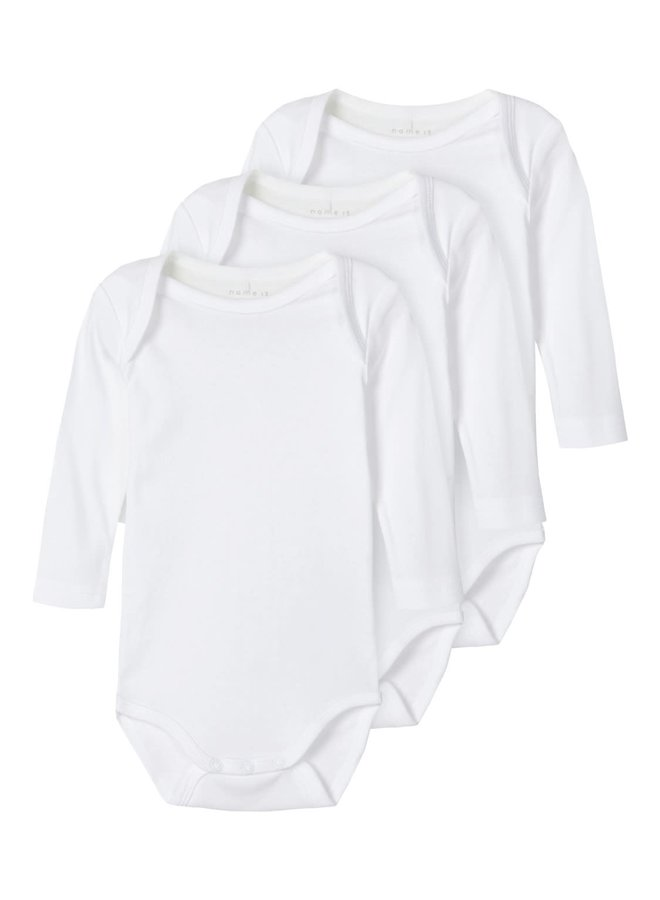 Name-it Rompers 3P LS Solid White