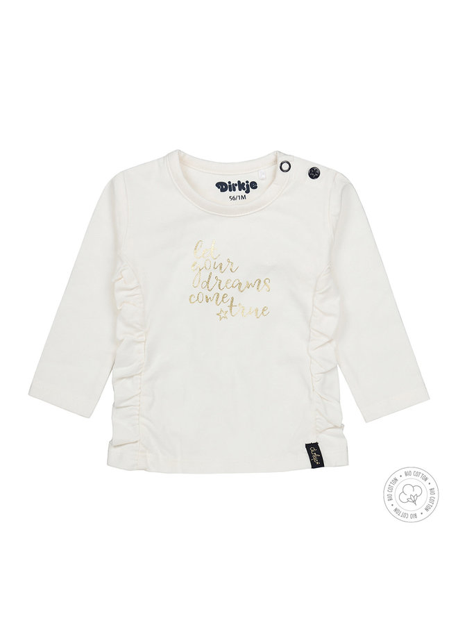 Dirkje Meisjes Tshirt Let Your Dreams Come True Off White
