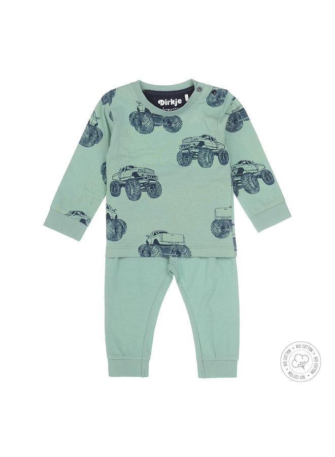 Dirkje 2-delige Jongens Pyjama Bigfoot Trucks Smokey Green