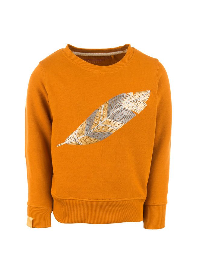 Stones & Bones Meisjes Sweater Violeta Feather Camel