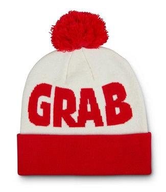Crab Grab Pom Beanie Red/White