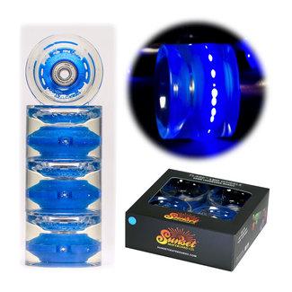 Sunset Flare Led Wheels + Abec7 Bearings Cruiser Longboard Wheels 65mm/78A Blue