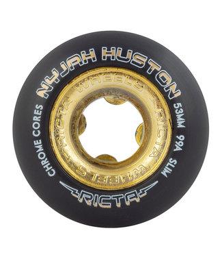 Ricta Chrome Core Nyjah Huston Pro Skateboard Wheels 53mm/99A Black Gold