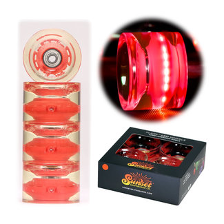 Sunset Flare Led Wheels + Abec7 Bearings Longboard wheels 69mm/78A Red