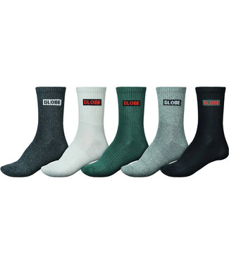 Globe Hilite Crew Socks 5 Pack Assorted